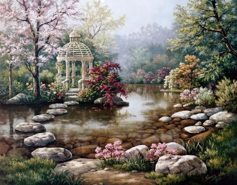 Пейзаж с беседкой у воды