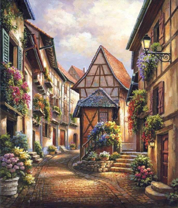 Улочка старого города с цветами